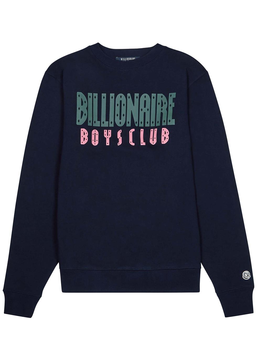 Navy logo-print cotton sweatshirt