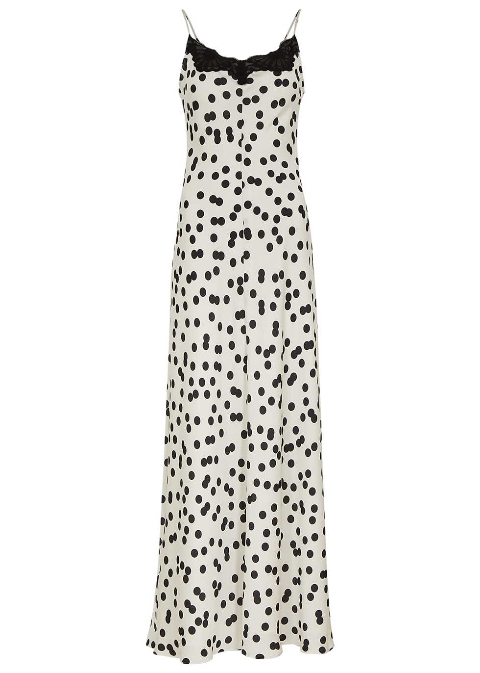 Midnight lace-trimmed polka-dot maxi dress