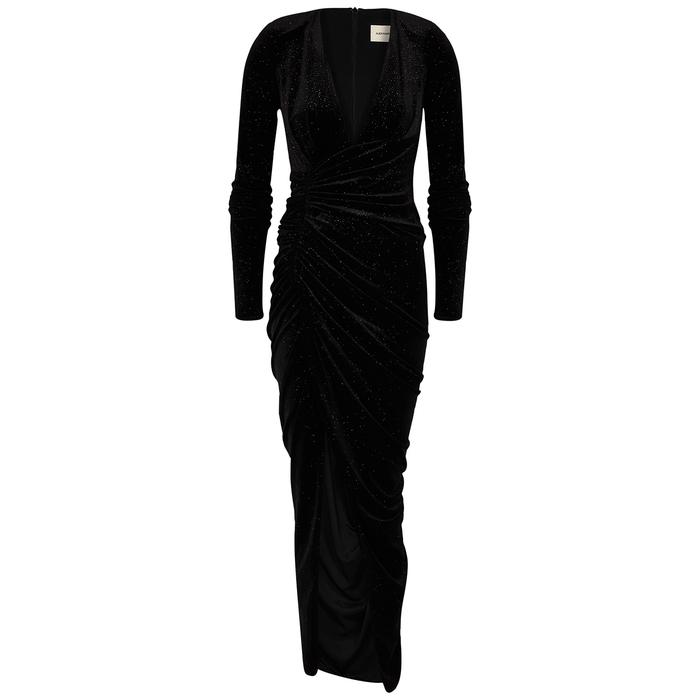 Alexandre Vauthier BLACK GLITTERED STRETCH-VELVET MAXI DRESS
