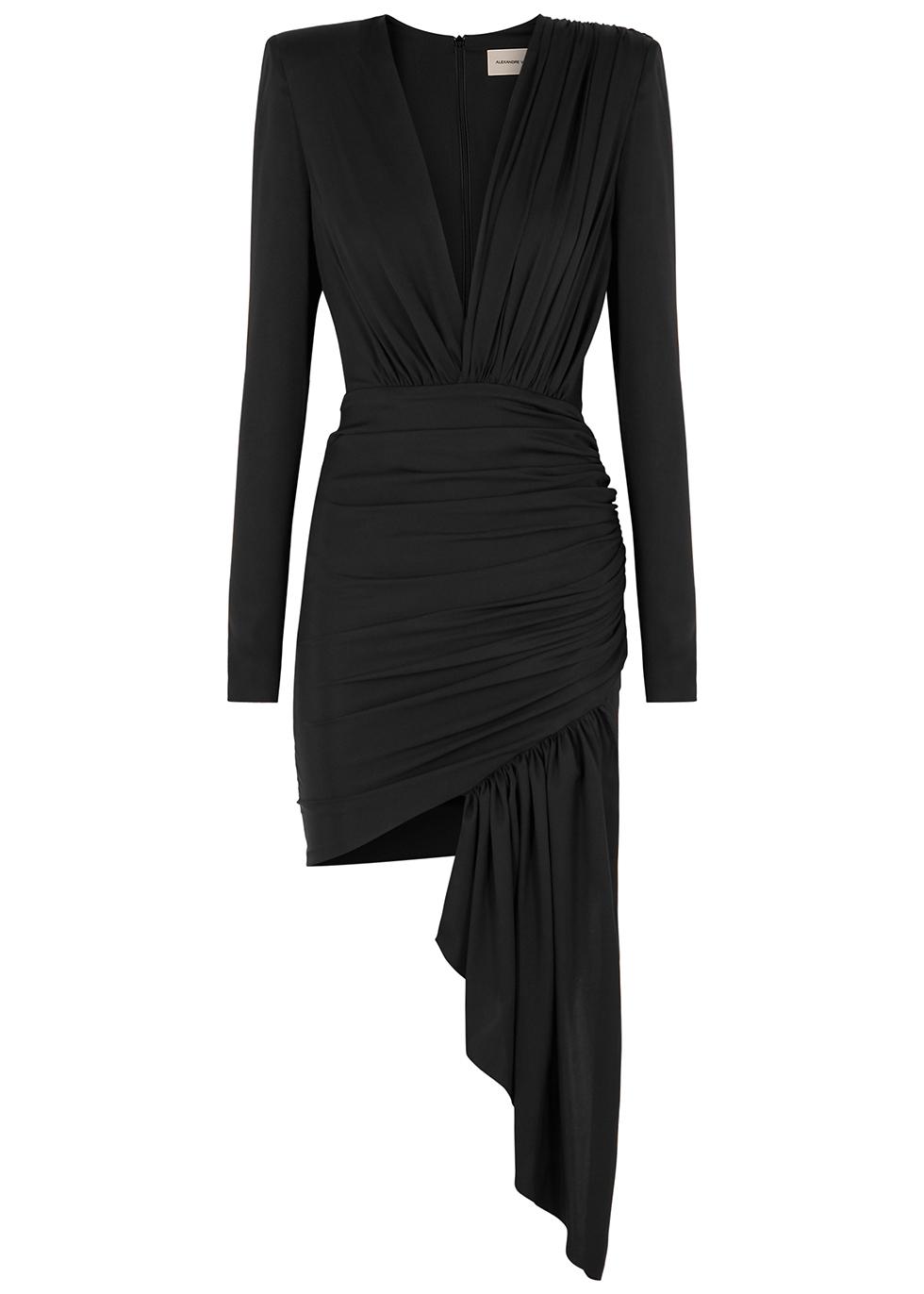 Black ruched stretch-silk dress