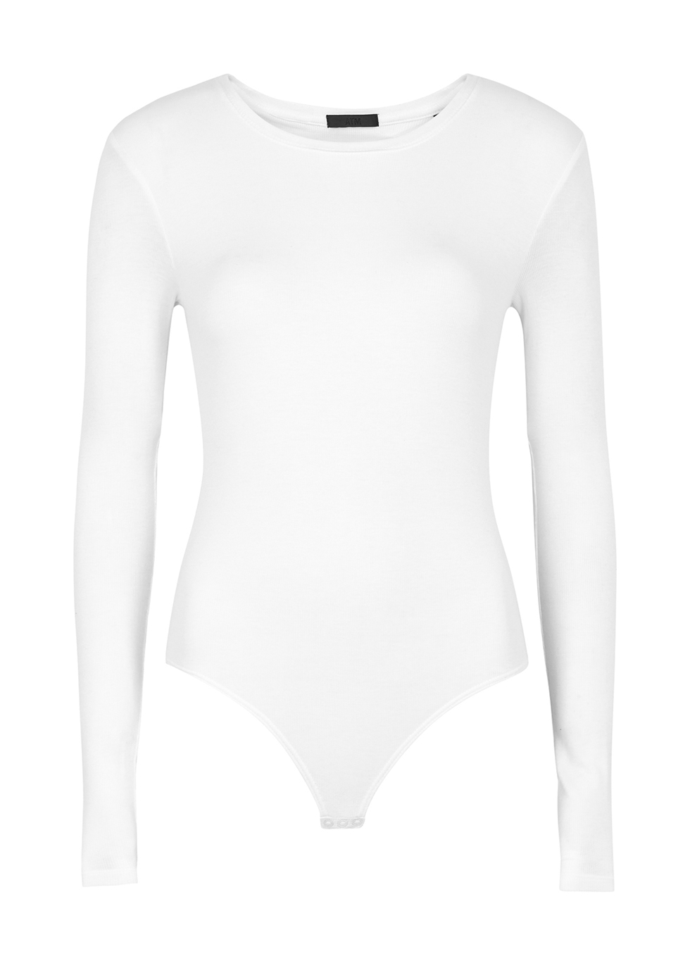 White ribbed stretch-jersey bodysuit