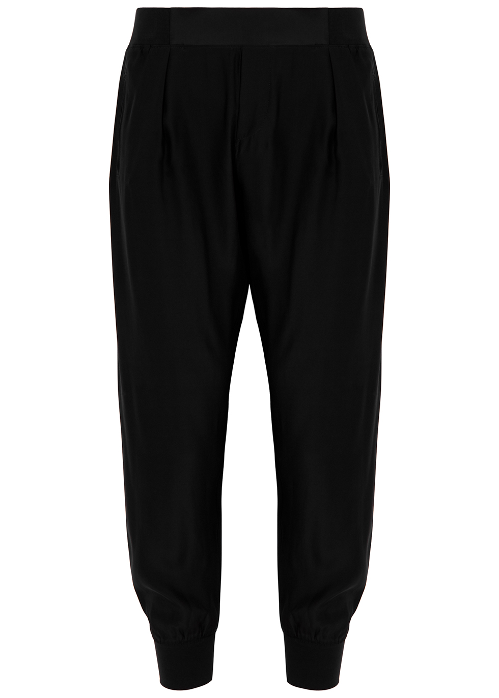 Black silk trousers
