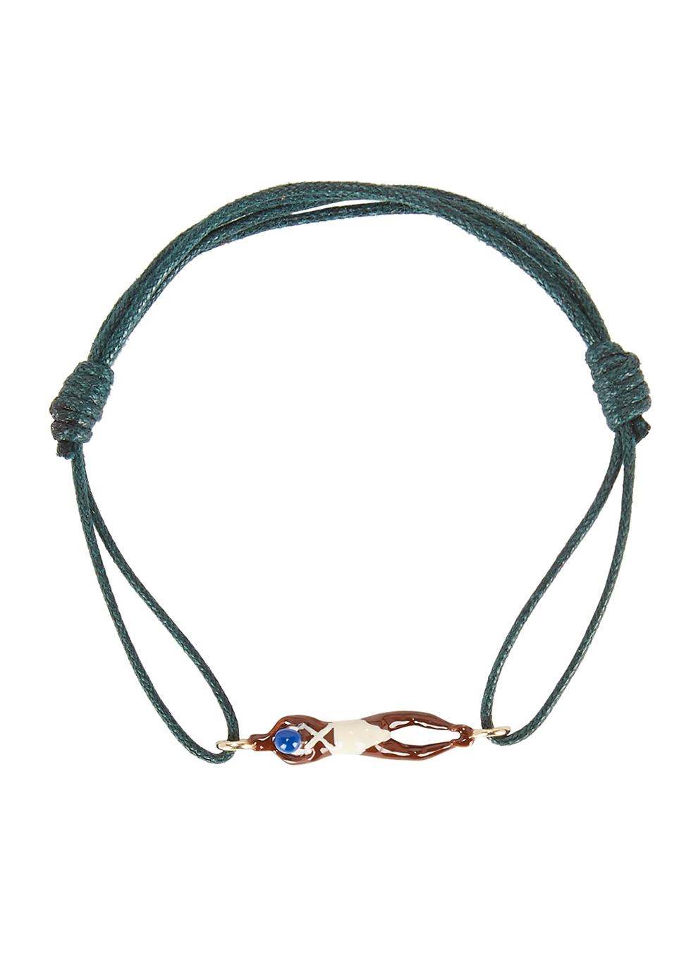 Nadadora Completo green cord bracelet