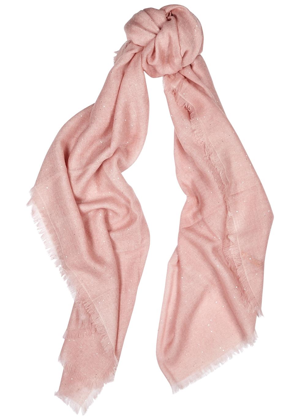 Light pink embellished cashmere scarf