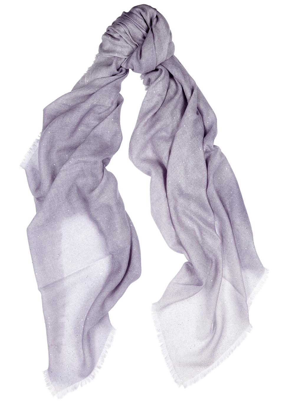 Lilac embellished cashmere scarf