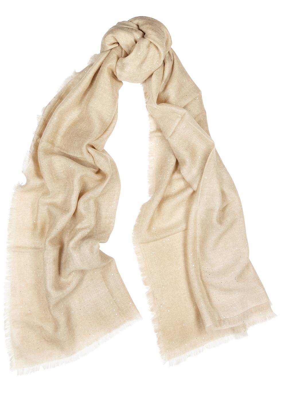 Sand embellished cashmere scarf