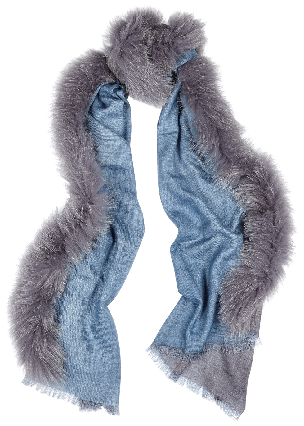 Blue fur-trimmed wool scarf