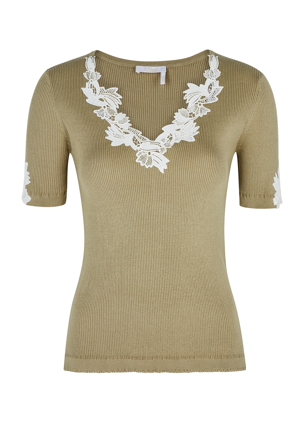 Olive lace-trimmed ribbed-knit top