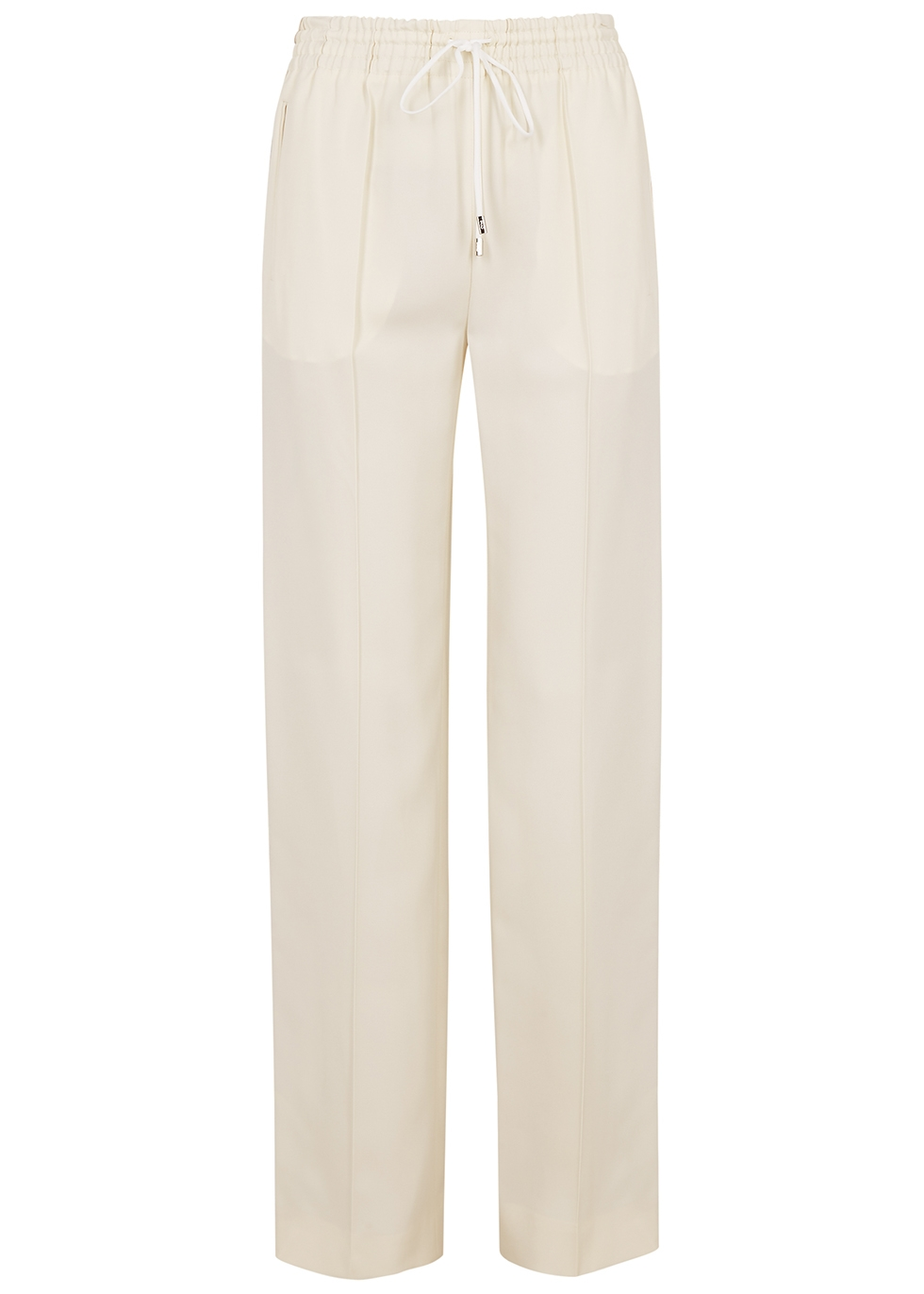 Ivory striped straight-leg trousers