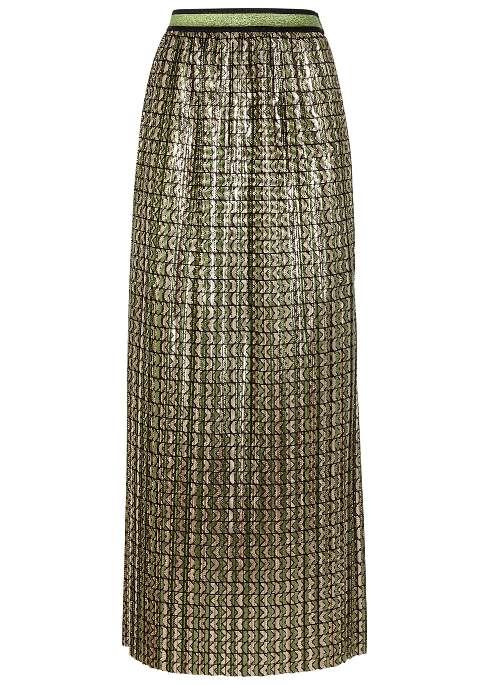 Printed metallic plissé skirt