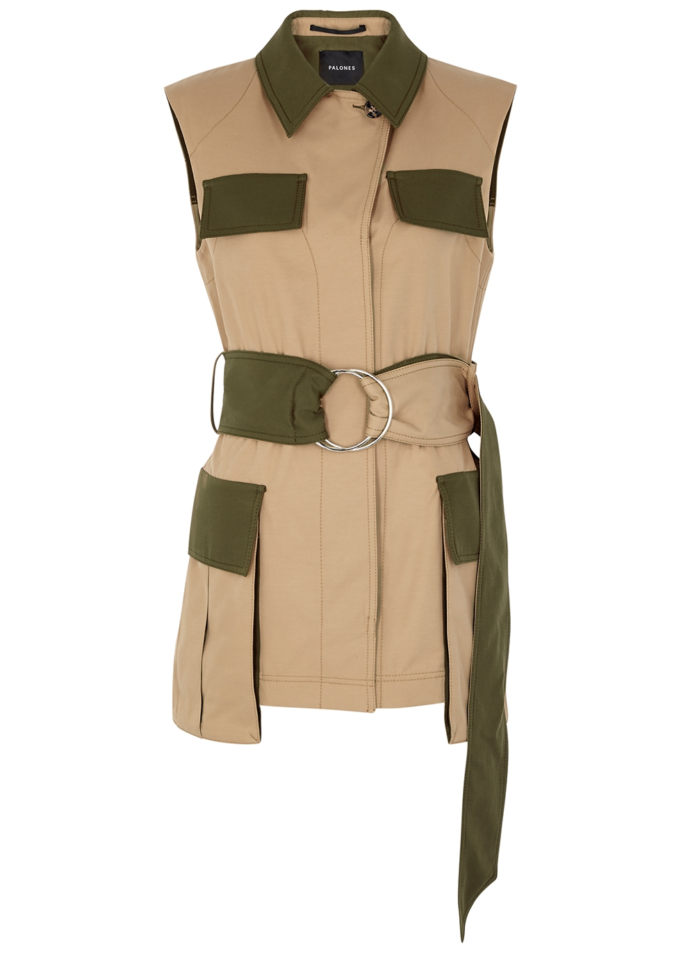 Notting Hill camel belted twill gilet
