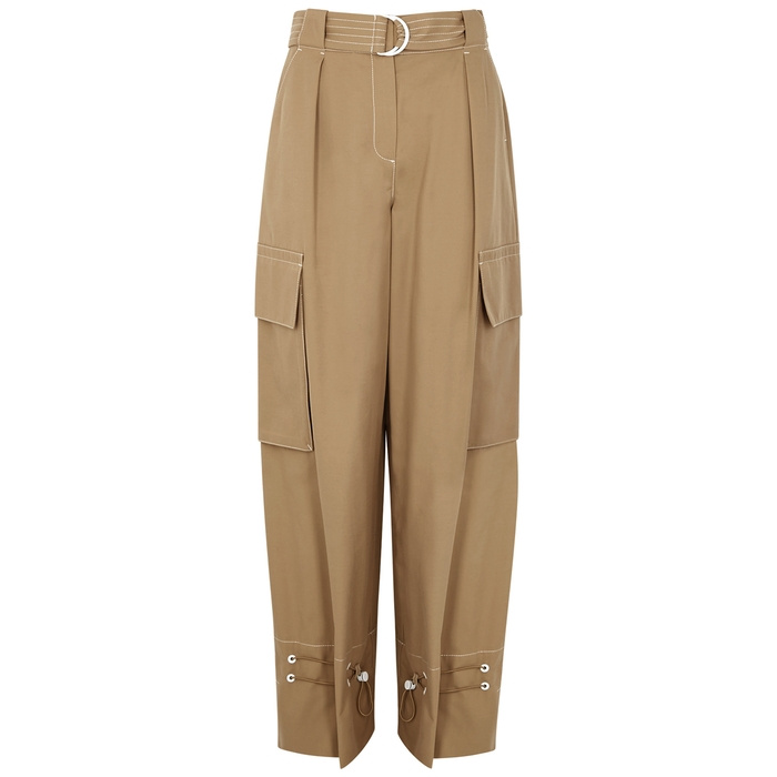 Palones Notting Hill Camel Twill Cargo Trousers In Tan