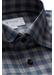 Grey & blue checked flannel shirt - slim fit - Eton