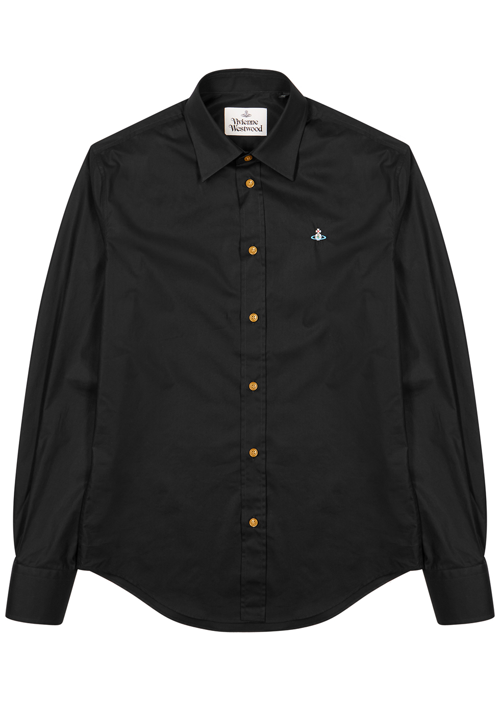 Black logo-embroidered cotton shirt