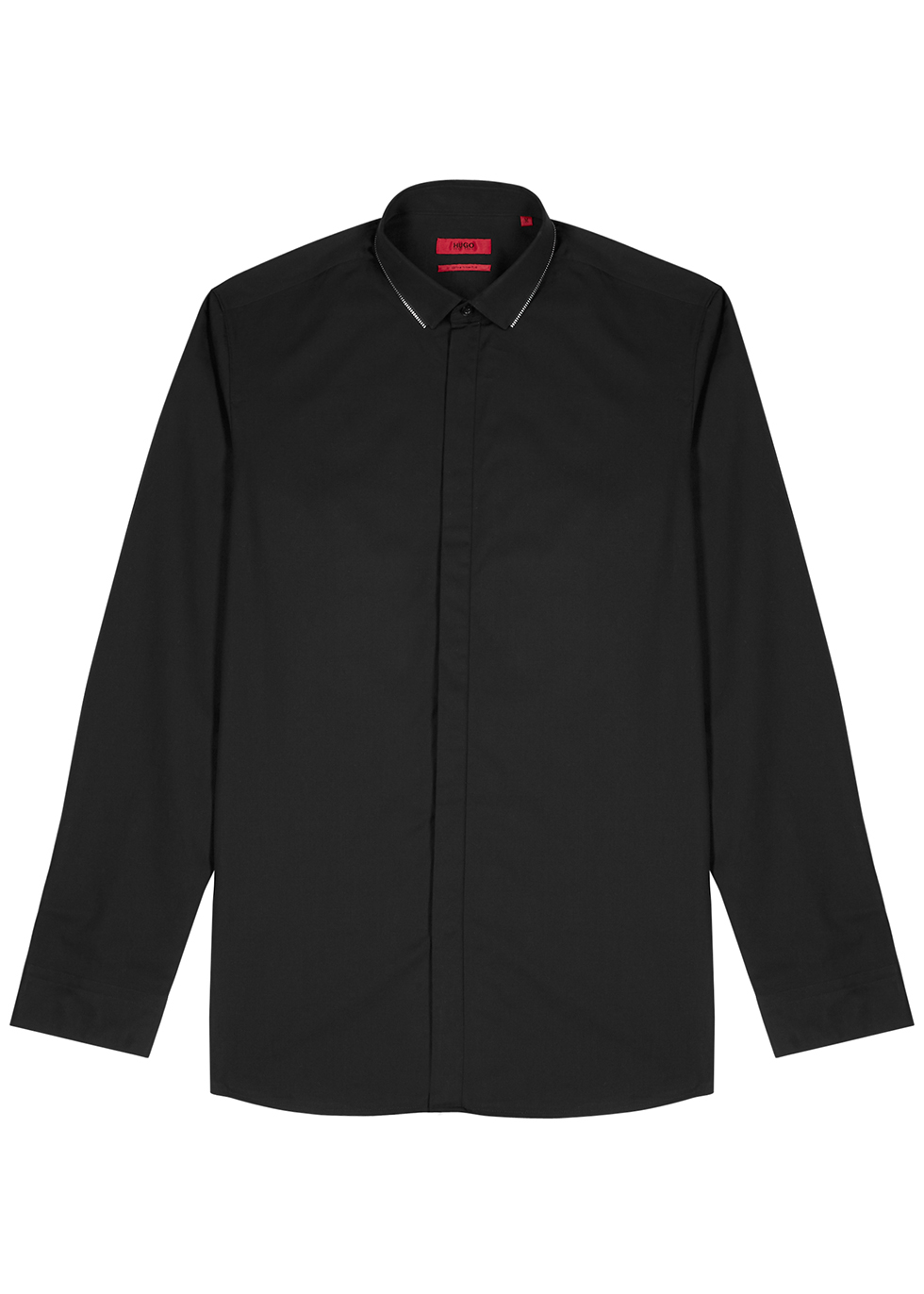 Evidio black zip-embellished cotton shirt