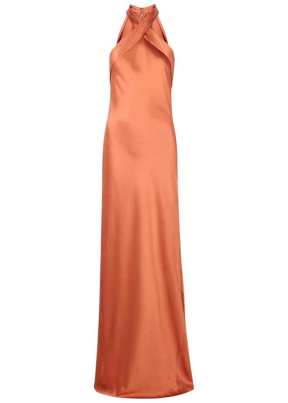 Eve rust silk gown