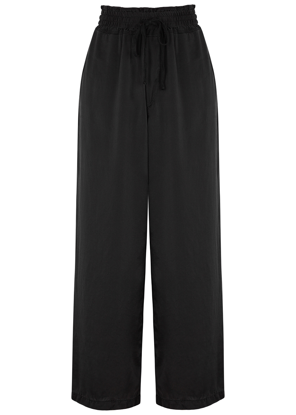 Black wide-leg silk trousers