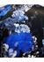 Womens black blue floral silk satin unlined short kimono - MENG