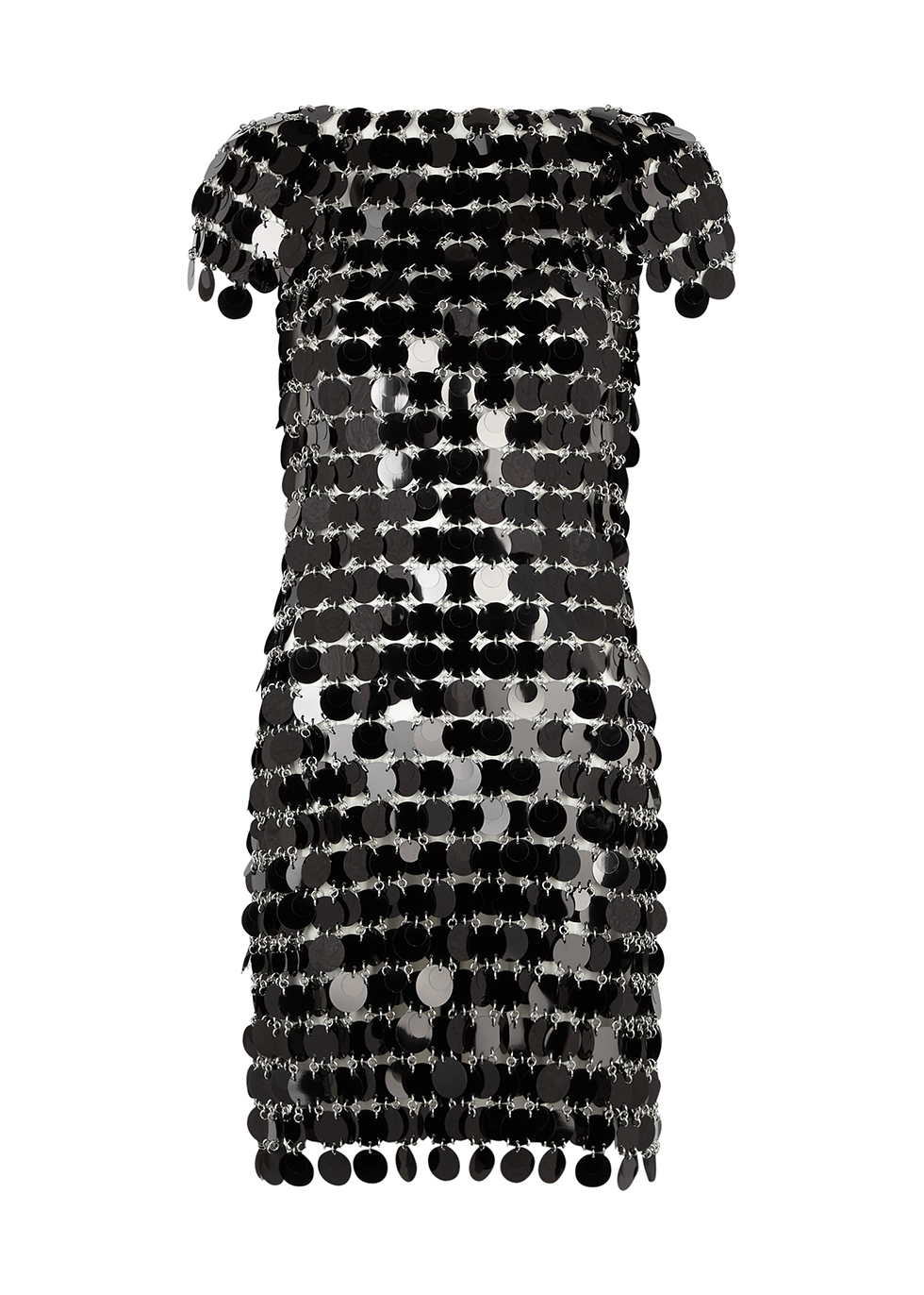 Black paillette chainmail mini dress