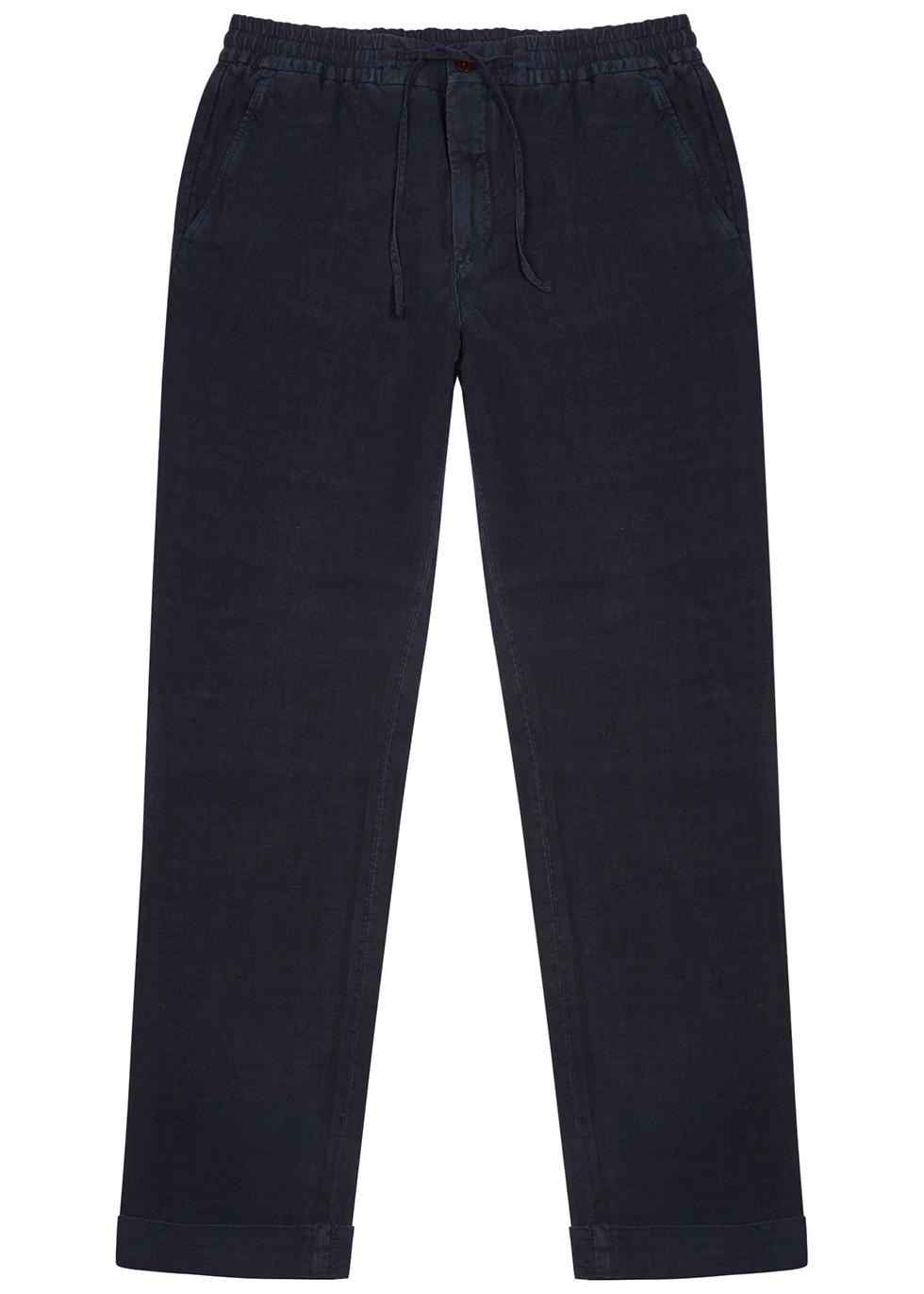 Seb navy linen trousers