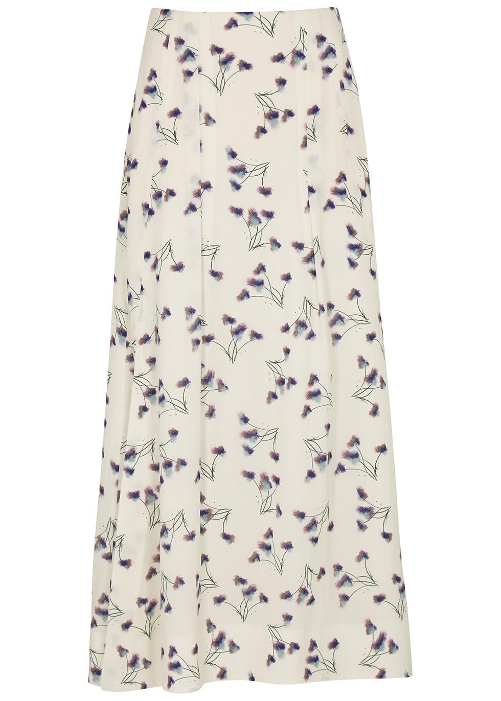 Badby floral-print seersucker skirt