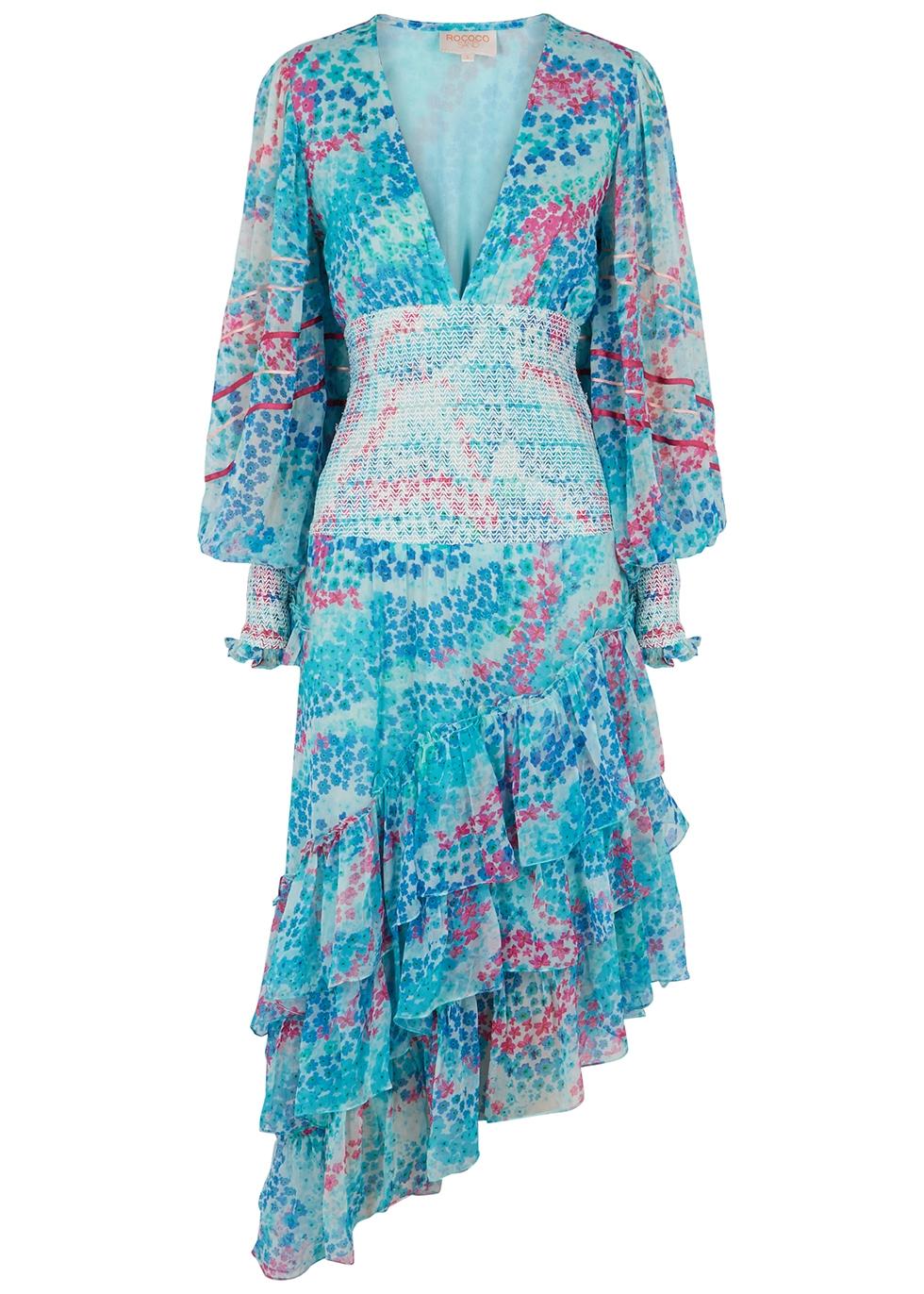 Okimi floral-print georgette midi dress