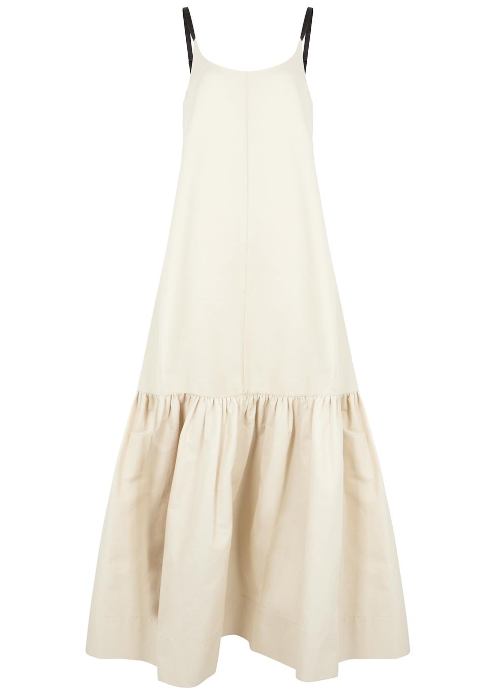 Lee Mathews Cottons REO ECRU COTTON-BLEND MAXI DRESS