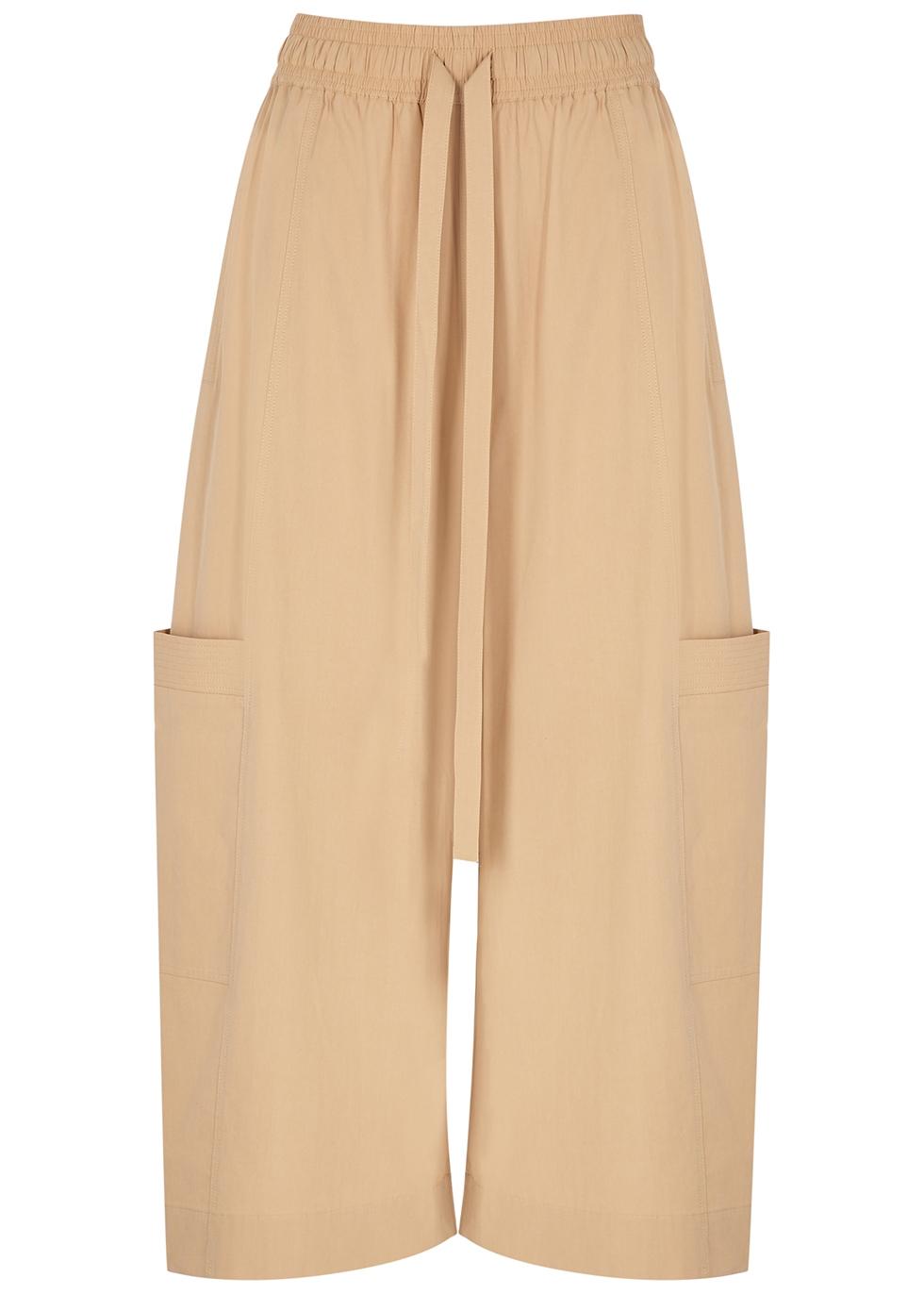 Kei cropped wide-leg cotton trousers