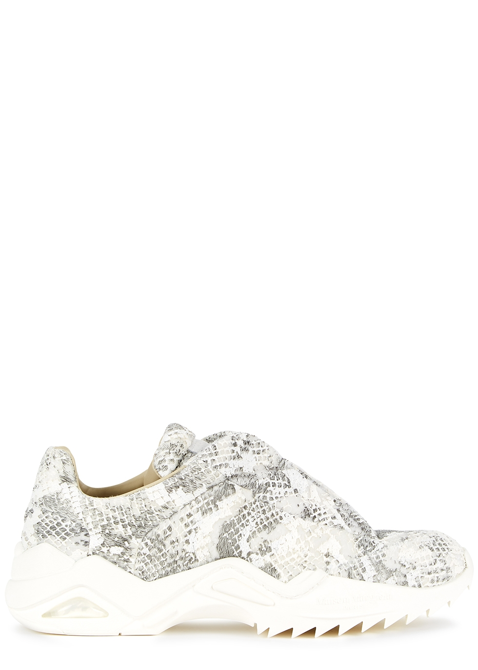 Future python-effect faux-fur sneakers