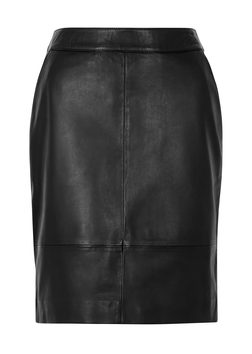 Char black leather mini skirt