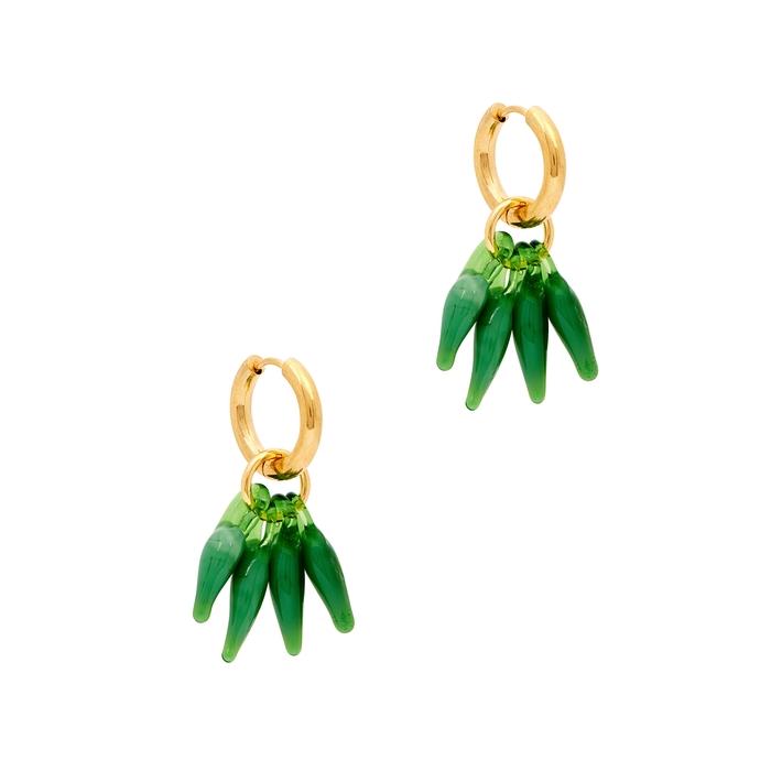 Sandralexandra Chillies Gold-tone Hoop Earrings In Green