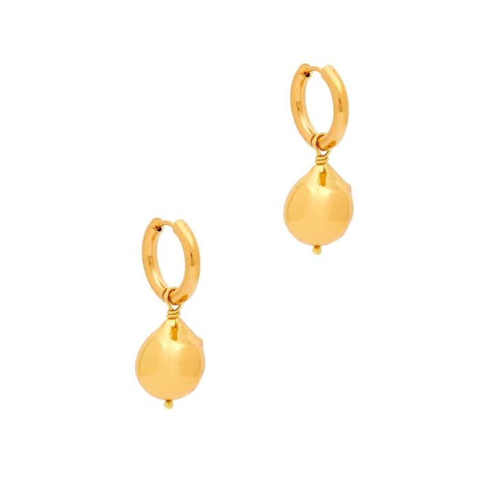 Sandralexandra Gold Nugget Gold-tone Hoop Earrings