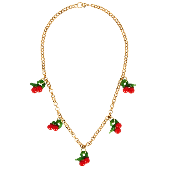 Sandralexandra Cherry Gold-tone Necklace In Red