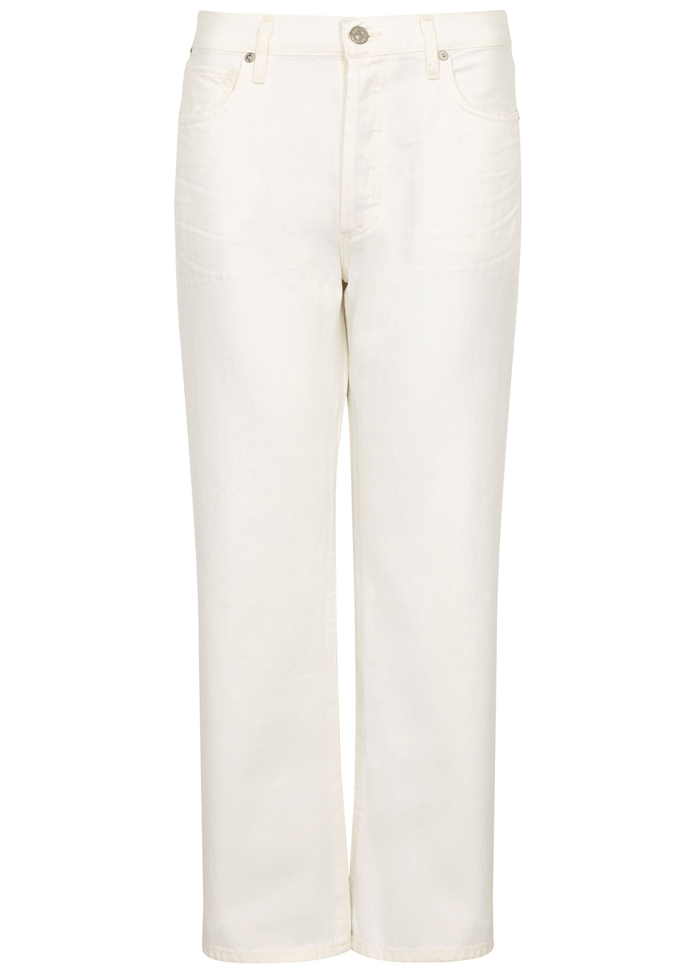 Emery white cropped straight-leg jeans