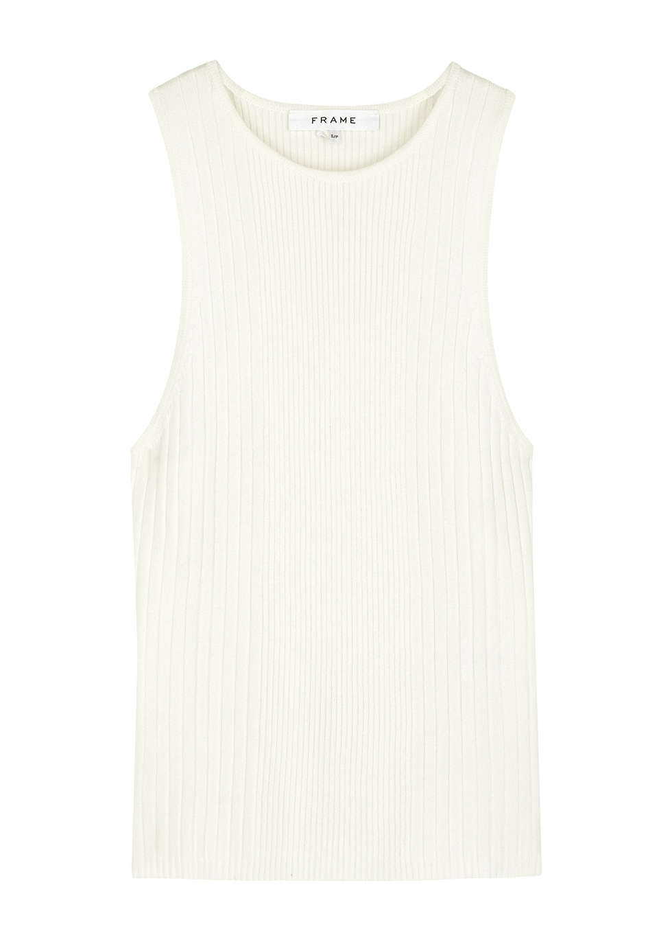 White ribbed jersey tank