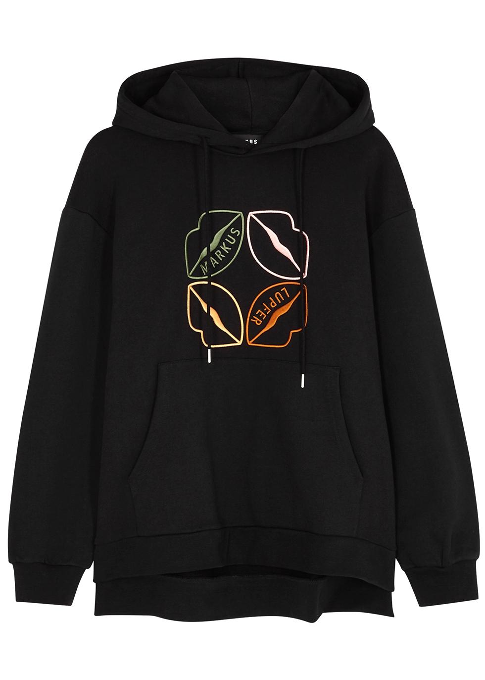 Naomi black embroidered cotton sweatshirt