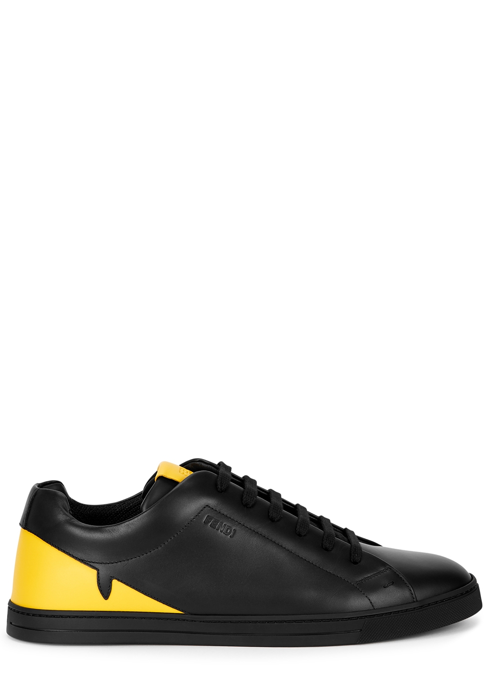 Fendi Black and yellow leather sneakers