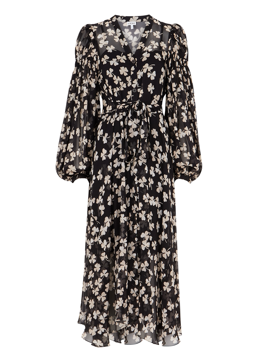 Black printed chiffon midi dress