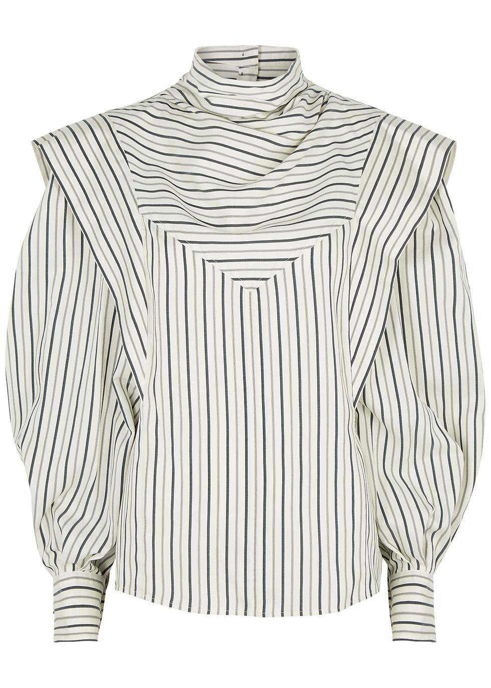 Bianca striped silk crepe de chine blouse