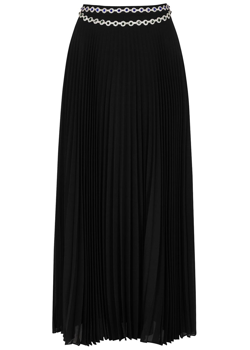 Black crystal-embellished pleated maxi skirt