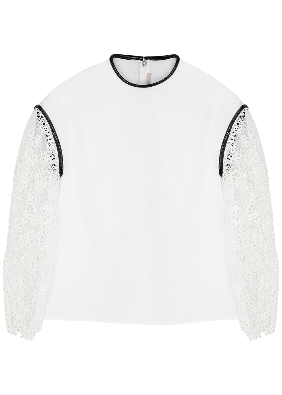 White broderie anglaise and cotton top