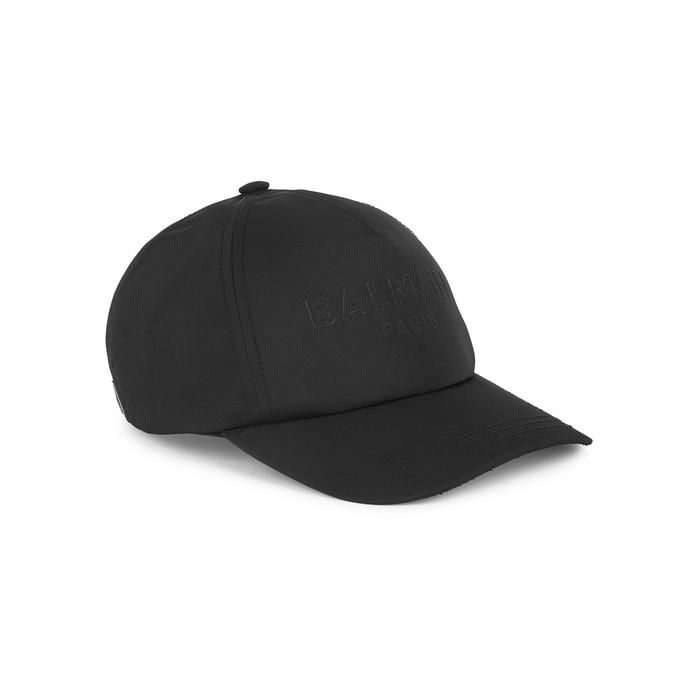 Balmain BLACK LOGO-EMBOSSED TWILL CAP