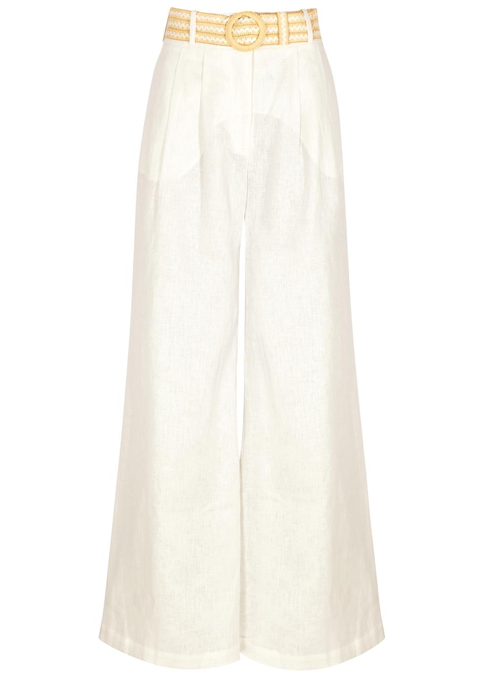 Amelie white wide-leg linen trousers