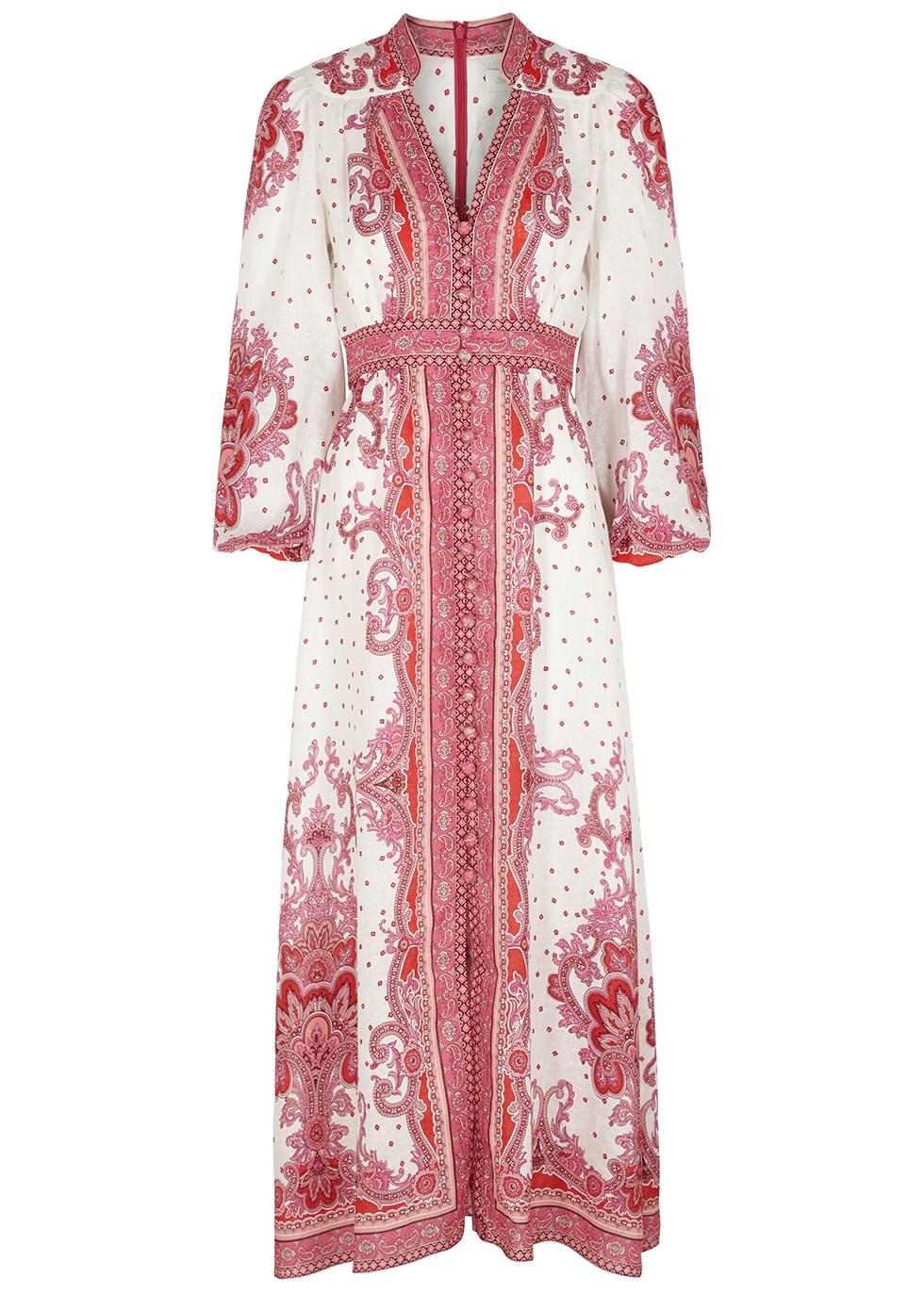 Bells printed linen maxi dress