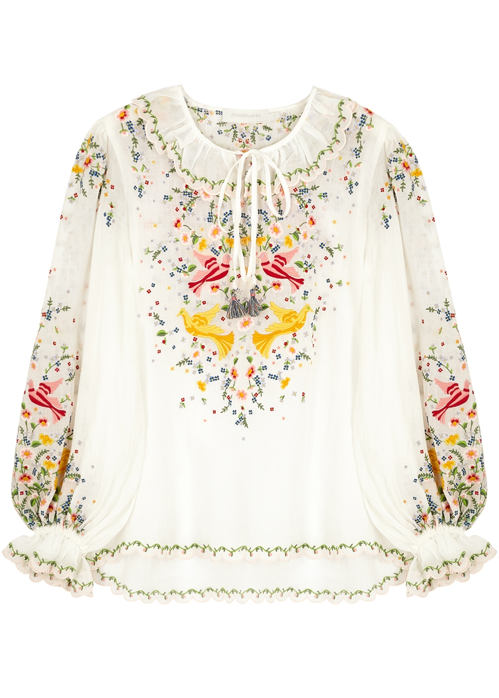 Carnaby embroidered ramie blouse