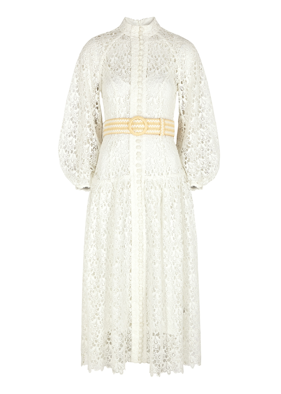 Empire white belted guipure lace dress