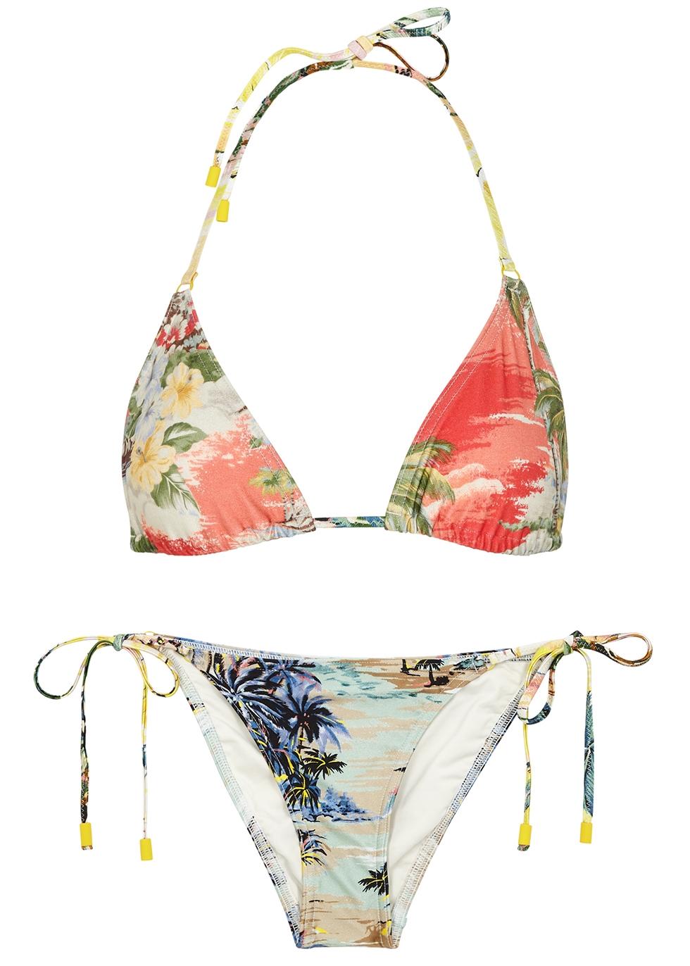 Juliette Spliced printed triangle bikini