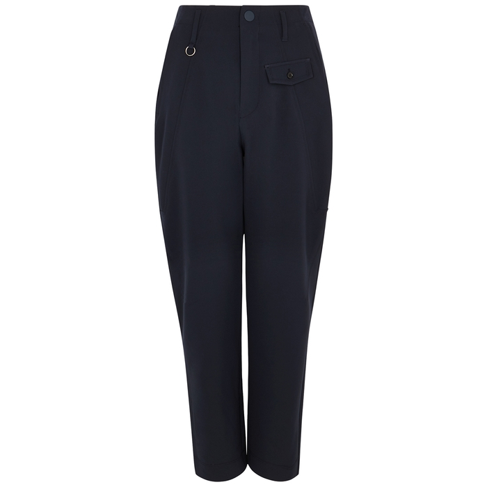 High HYPER NAVY CROPPED STRAIGHT-LEG TROUSERS