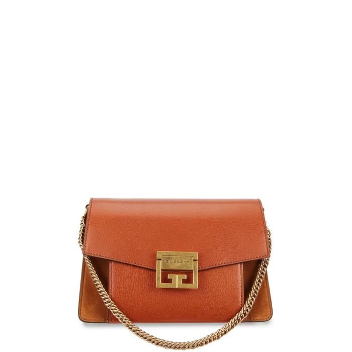 Givenchy Gv3 Small Leather Shoulder Bag In Chestnut
