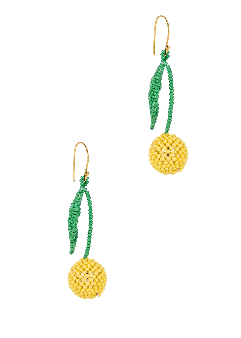 Lemons beaded drop earrings